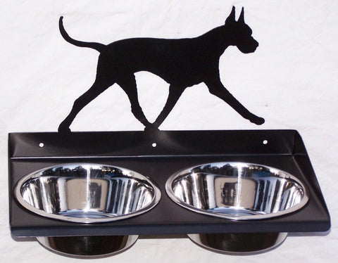 Great Dane Dog Feeder Metal Wall Mount Raised Elevated Adjustable Height Image 1