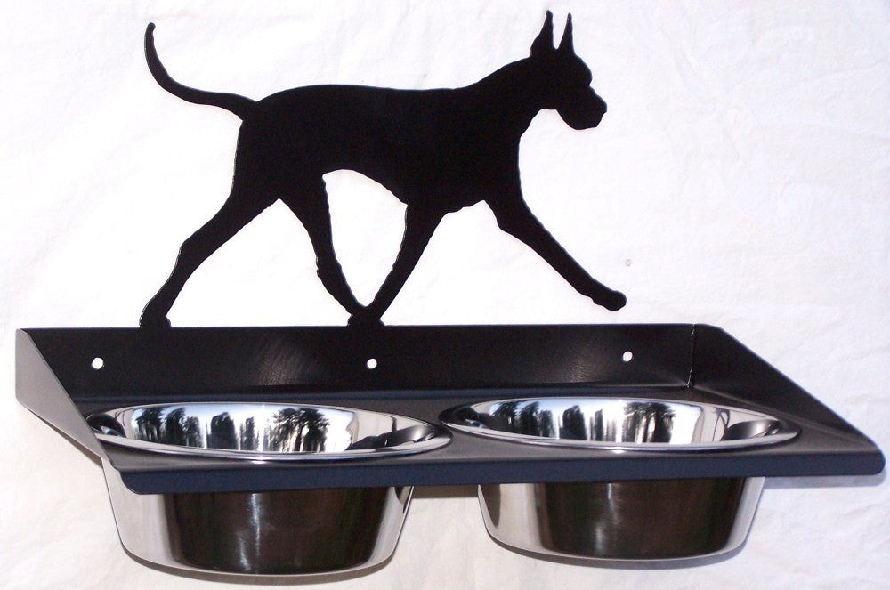 Great Dane Dog Feeder Metal Wall Mount Raised Elevated