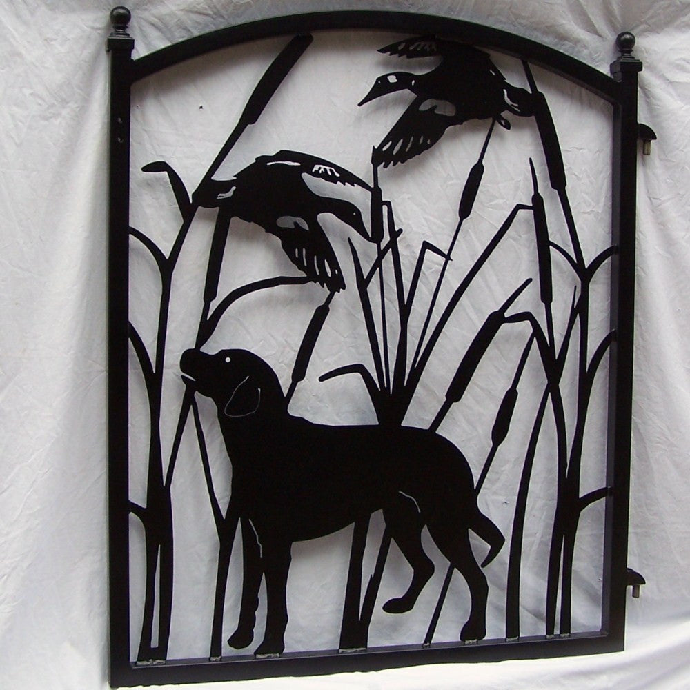 Garden gate labrador dog ducks wildlife metal art yard