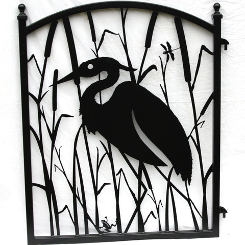 Garden Fence Gate Heron Metal Art Ornamental Iron Image 1