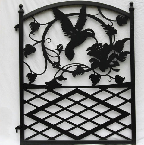Ornamental Wrought Iron Garden Fence Entrance Gate Hummingbird Flowers Custom Design Image 1