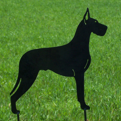 Great Dane Metal Art Yard Stake Dog Garden Ornament Image 1