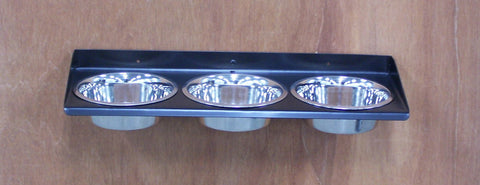 3 Bowl Triple Dish Wall Mount Metal Dog Feeder Image 1