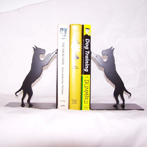 Dog Metal Bookends, Modern Black Bookends, Dog LoverÔÇÖs Gift, Great Dane Home D?®cor Image 1