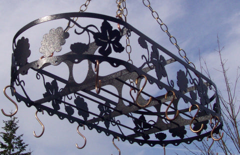 Iron Pot Rack French Vineyard California Grape Leaf Design Copper Hooks Image 1