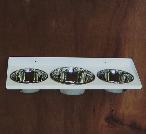 Wall mount dog feeder triple bowl 2 and 3 quart large breed Image 1