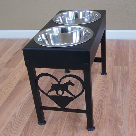 Doberman Pinscher Metal Art Elevated Floor Stand Dog Feeder Image 1