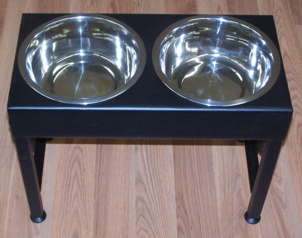 labrador dog feeder stand elevated bowls lab metal art silhouette image 2