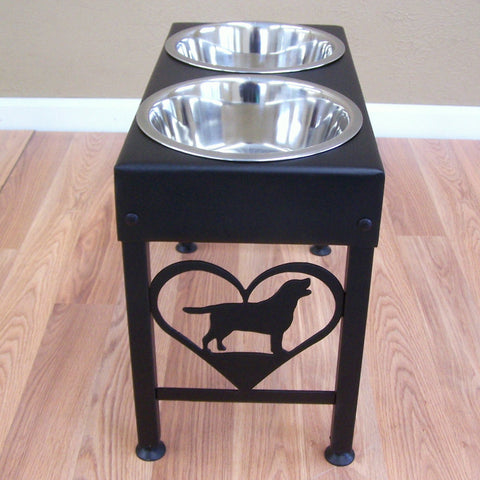 Labrador dog feeder stand elevated bowls lab metal art silhouette Image 1