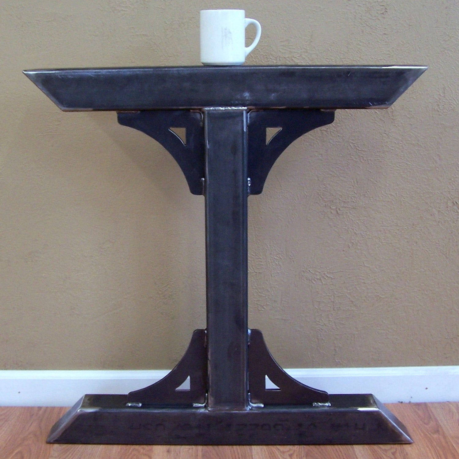 ... Industrial Factory Style Heavy Duty Steel Tube Legs Dining Table  Pedestal Base Image 2