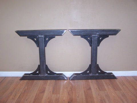 Industrial factory style heavy duty steel tube legs dining table pedestal base Image 1