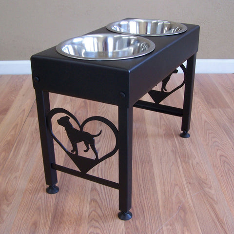 Pit Bull Terrier Elevated Dog Feeder Floor Stand  Bowl Holder Powder Coated Steel Metal Art Feeding Station Image 1