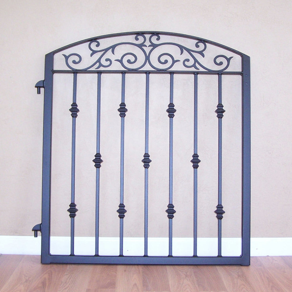 Ornamental iron garden gate metal scroll work cast