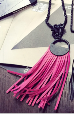 Pink leather pendant
