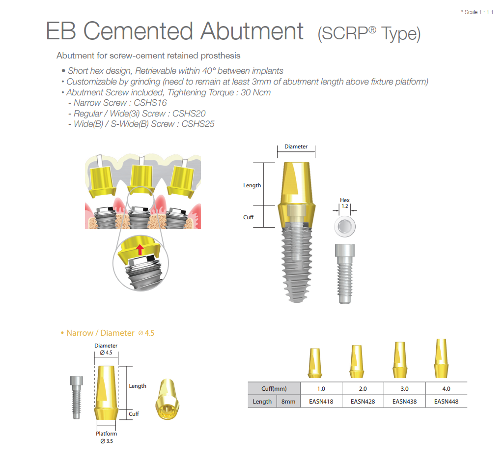 EB Cemented Abutment (SCRP Type)