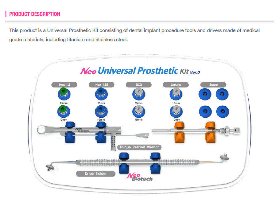 Universal Prosthetic Kit Neo Implants