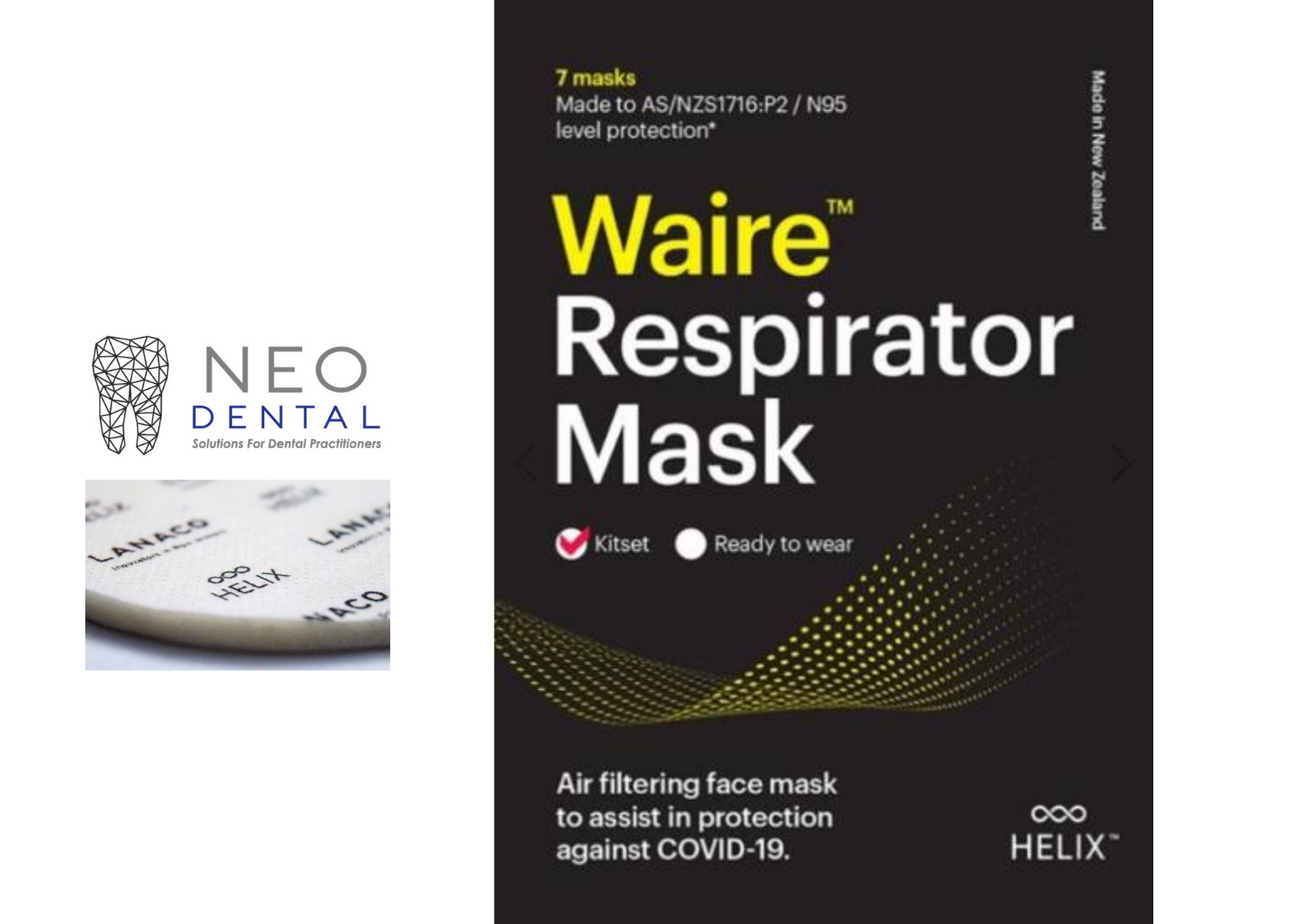 Waire™ Respirator Mask N95 Level (7 masks/pk)