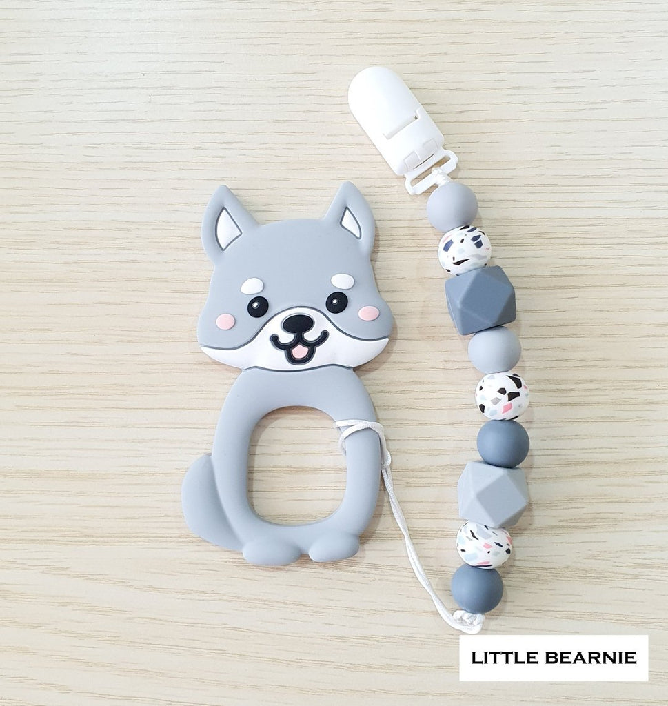 Little Bearnie - Cutie Shiba Teether Clip Set (Grey)