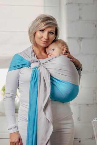 LennyLamb Basic Line Ring Sling - Broken Twill Weave (100% cotton) - Larimar
