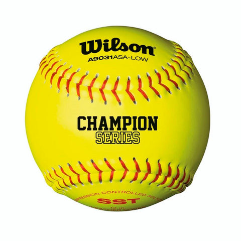 Wilson A9031 ASA Low Optic Yellow Fastpitch Softball 12 Pack