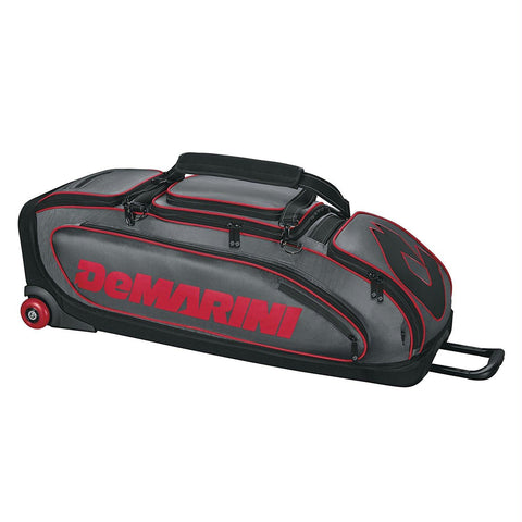 DeMarini Special Ops Wheeled Bag Charcoal-Scarlet