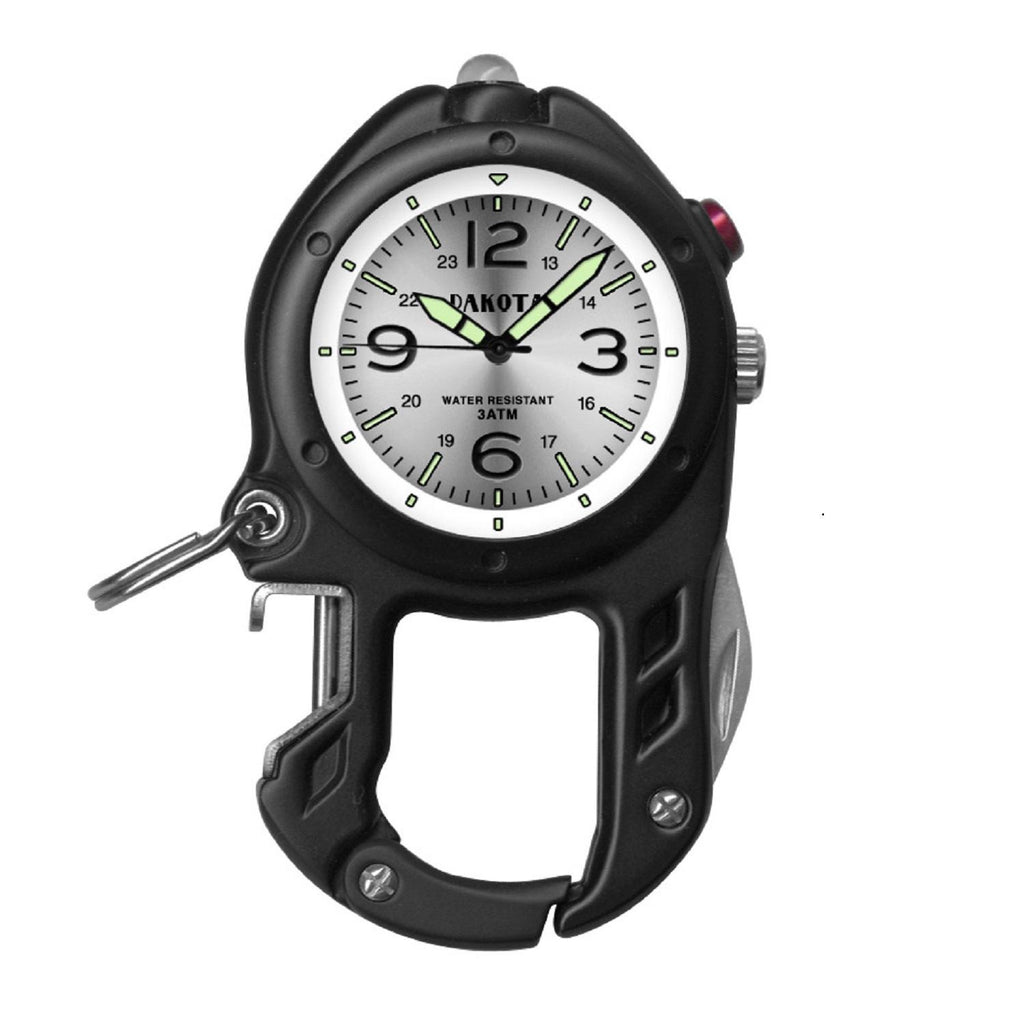 Dakota Bottle Opener- Flashlight Clip Watch - Black