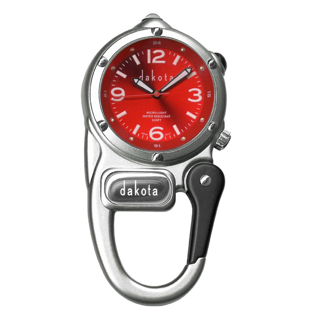 Dakota Watch Mini Clip with Microlight - Silver-Red Dial
