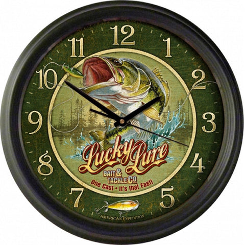 Amer Expedition Vintage Lucky Lure Bait & Tackle Co Clock