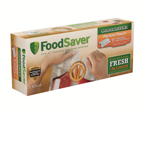 FoodSaver GameSaver 11inX16ft Portion Pouch Heat-Seal 2 Pack