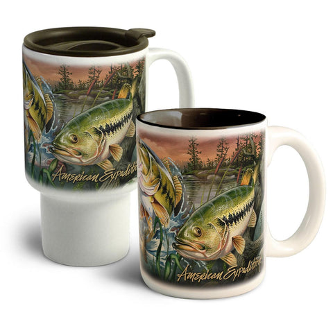 American Expedition Bass Collage Home&Away Stoneware Mug Set