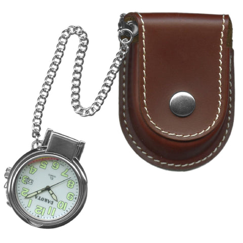 Dakota Leather Pouch Pocket Watch w- Magnifying Lens