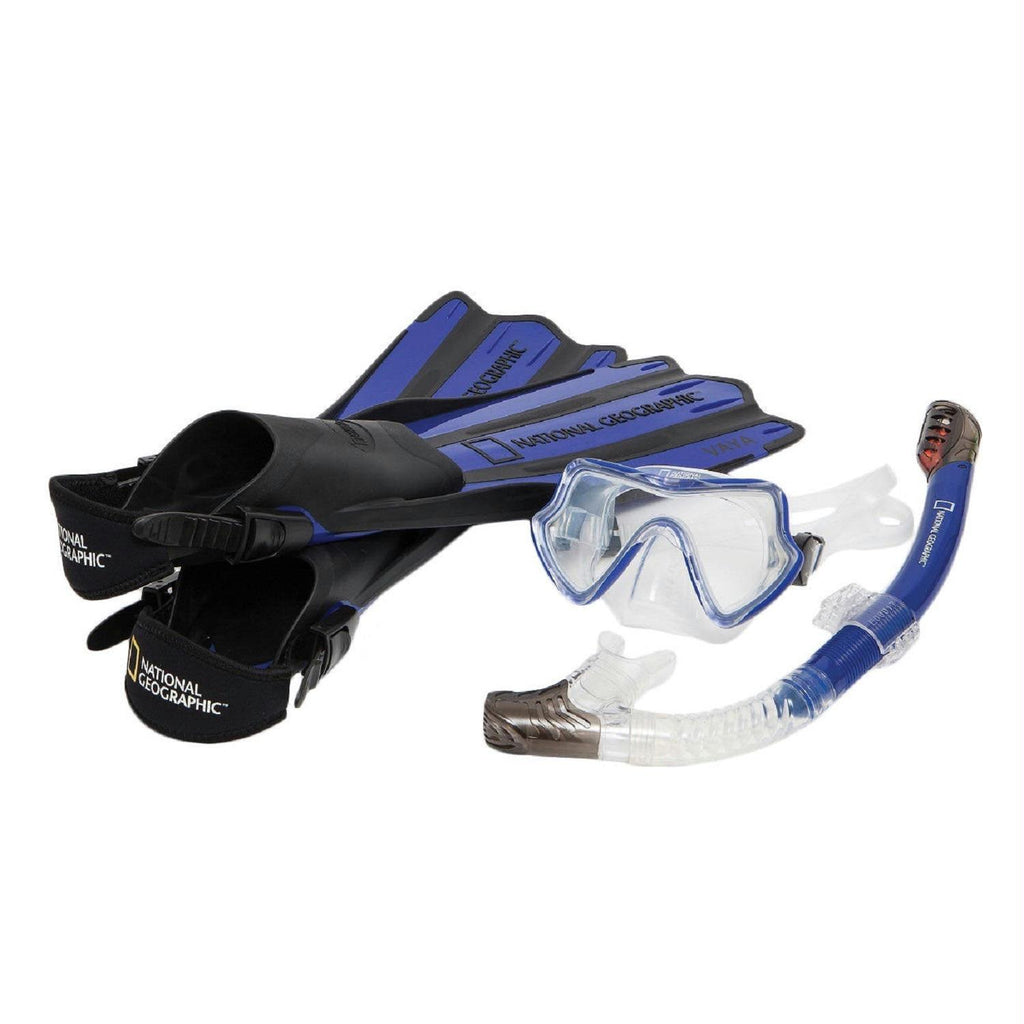Nat Geo VAYA Snorkel and Fin Set Black-Blue-S-M