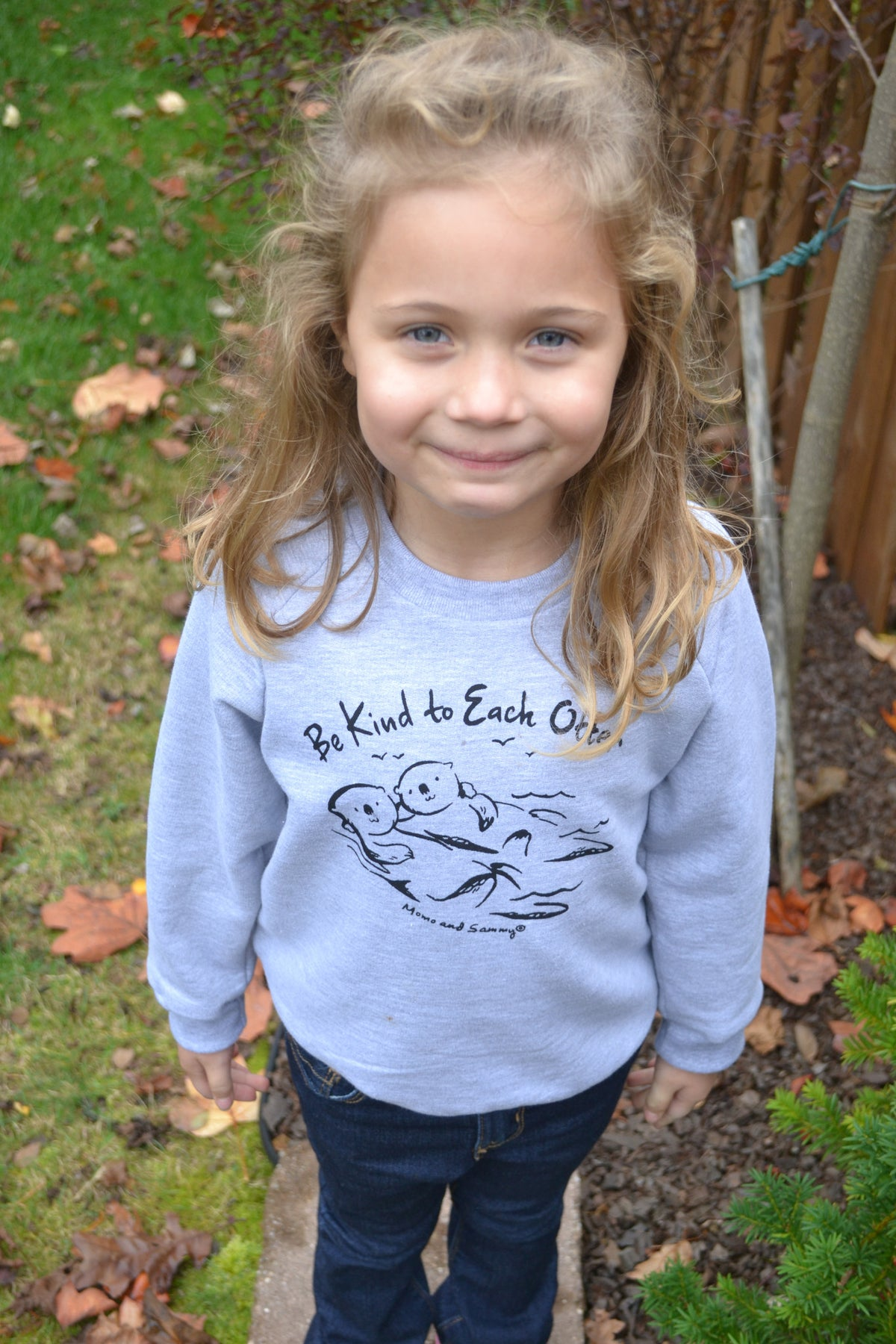 Modern, unisex kids sweater - Be Kind to Each Otter