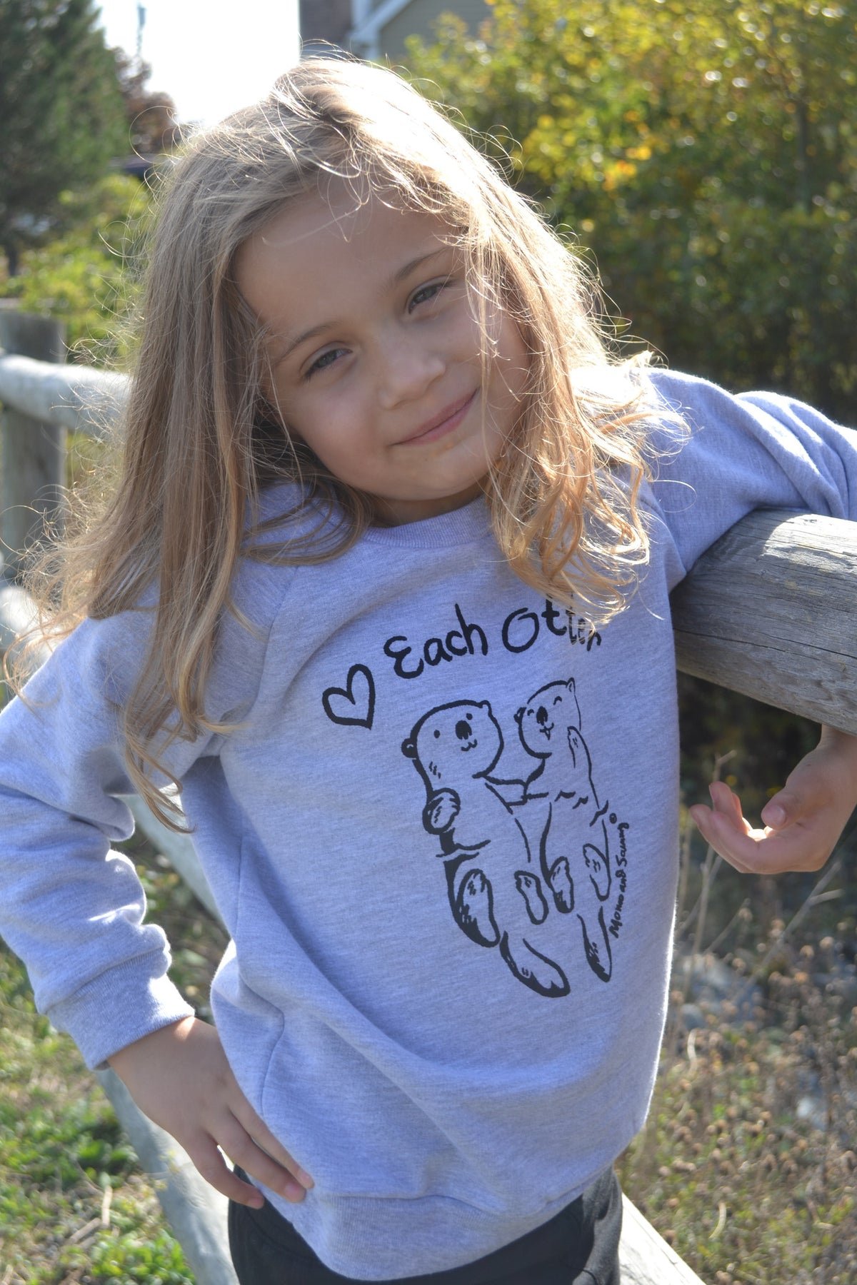 Modern unisex kids sweater - Love Each Otter - Momo and Sammy Clothing Co.