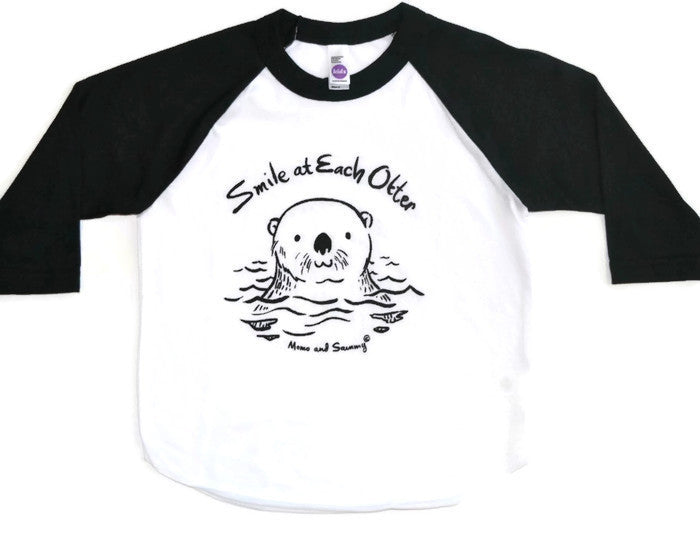SMILE AT EACH OTTER - Baby Baseball Tee