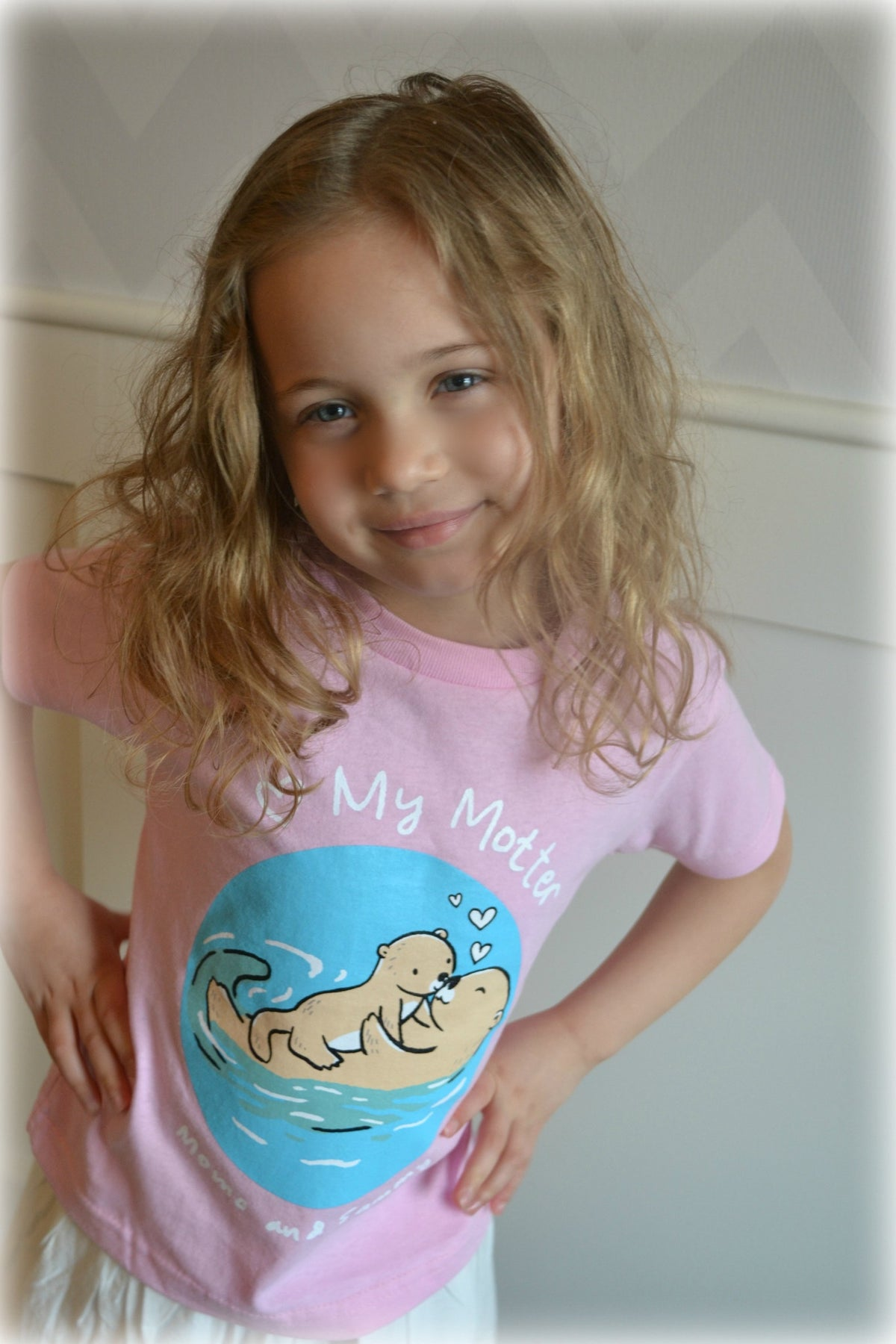 I HEART MY MOTTER (KISS) - Kids Tee Pink