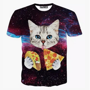 3D T-shirts-Cat with pizza