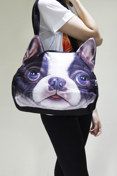 Dog-3D Printed Large leather shoulder bag