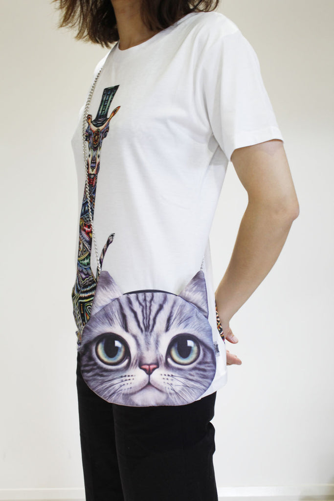Cat 3D printed shoulder bag-Long chain strap
