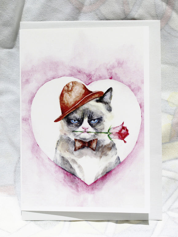 Greeting cards-grumpy cat with rose