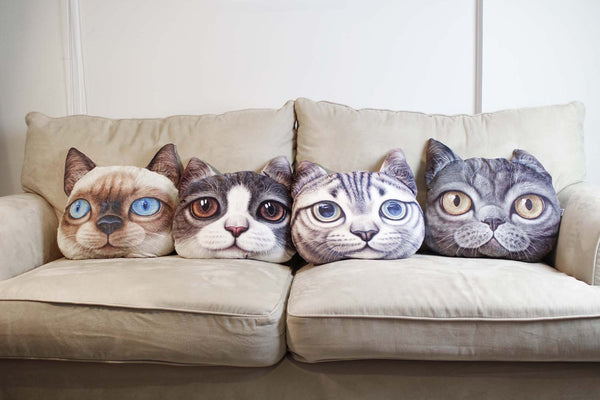 Cushion-3D Cat Purple