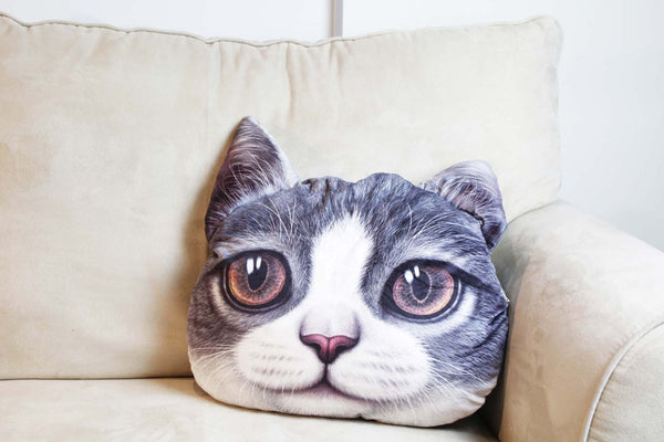 Cushion-3D Cat Grey