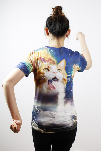 3D T-shirts-Cat with waterfall