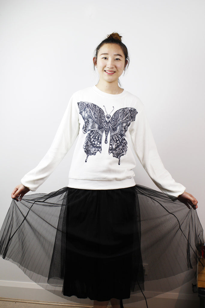 Sold! ACC Jumper-Black & white Butterfly