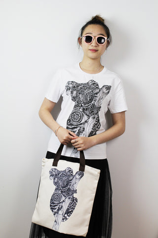Tote bag-Black and white Kaola