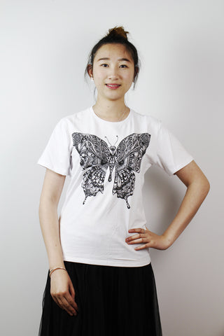 ACC T-shirt-Black and white butterfly