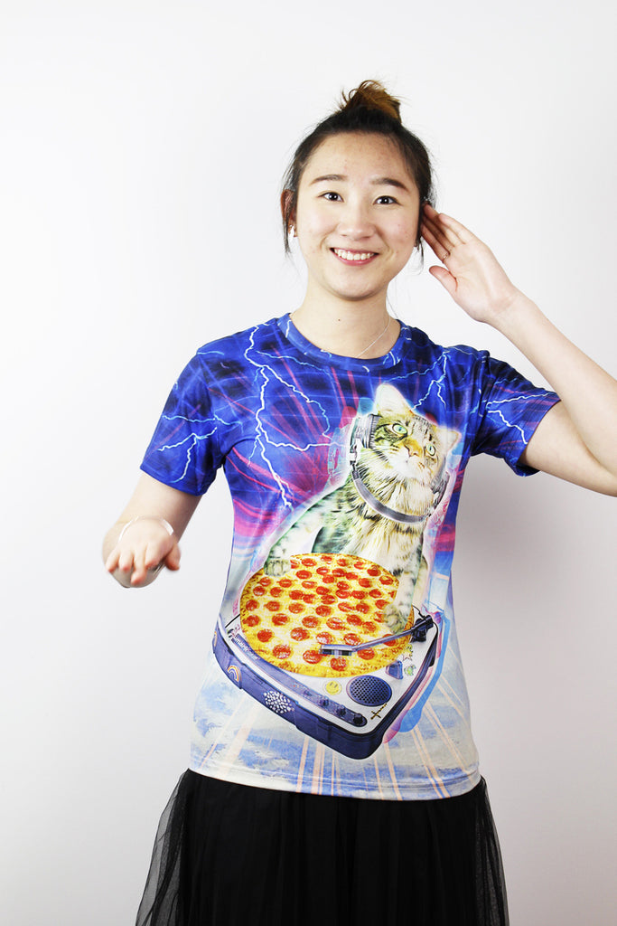 3D T-shirts-DJ Cat with pizza