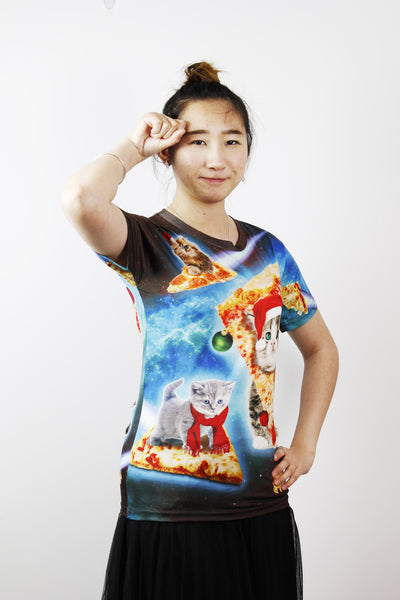 3D T-shirts-X'MAS pizza cat