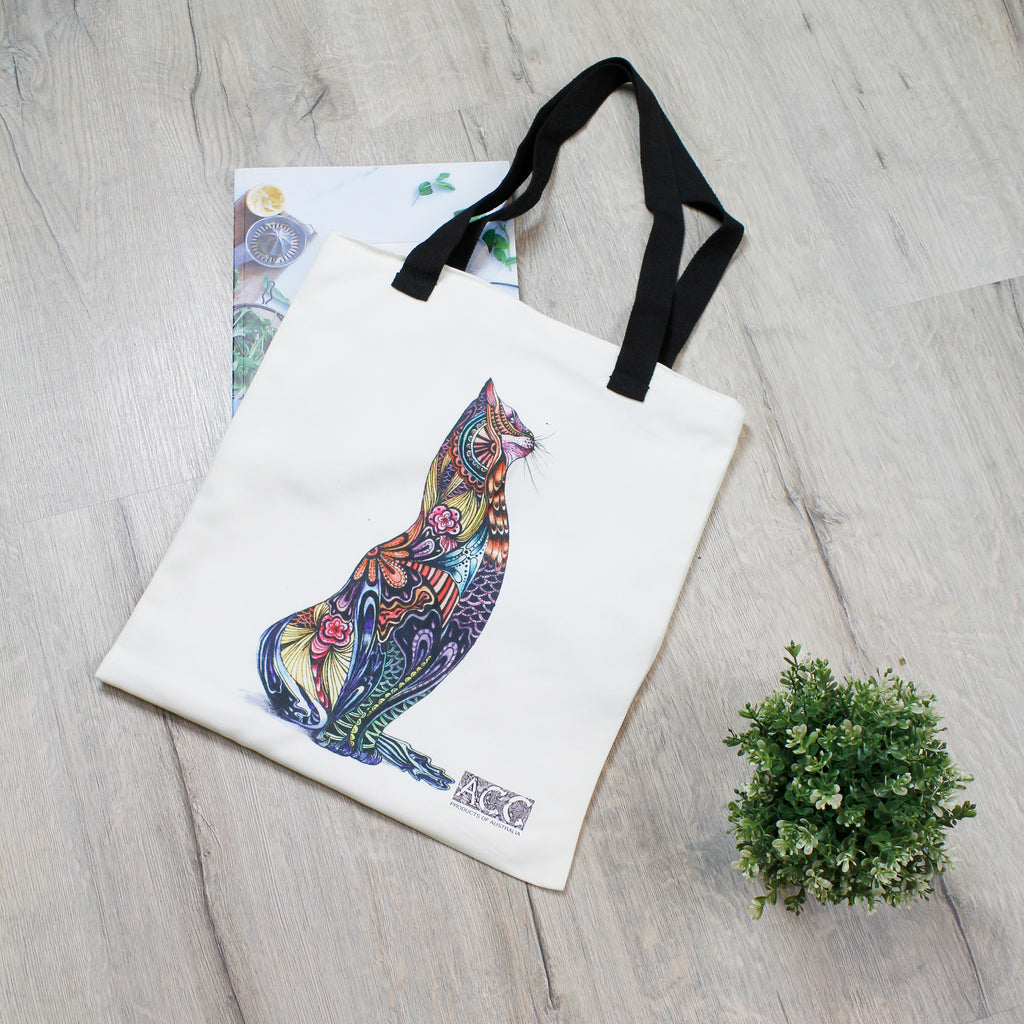 Tote Bag-Tattoo Cat
