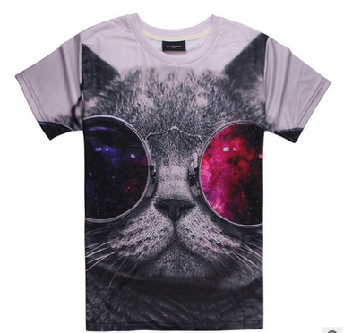 3D T-shirts-A cool grey cat